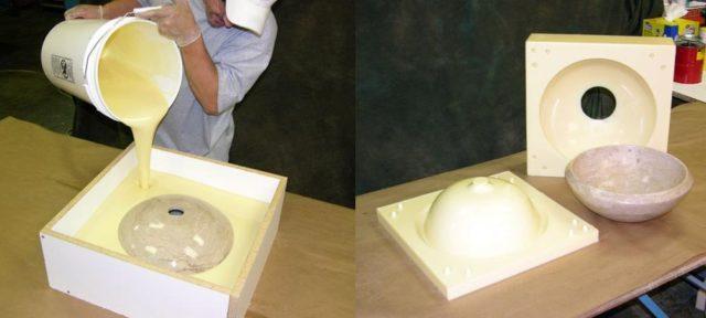 Для получения конкретных изделий компоненты перемешивают, закладывают в формы и дают застыть
