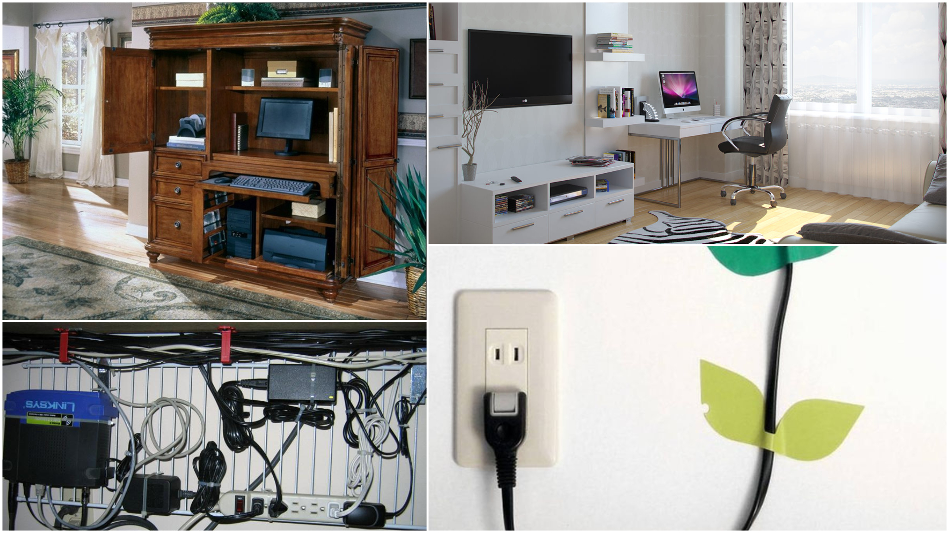 Интерьер без офисных оттенков: маскируем провода и приборы