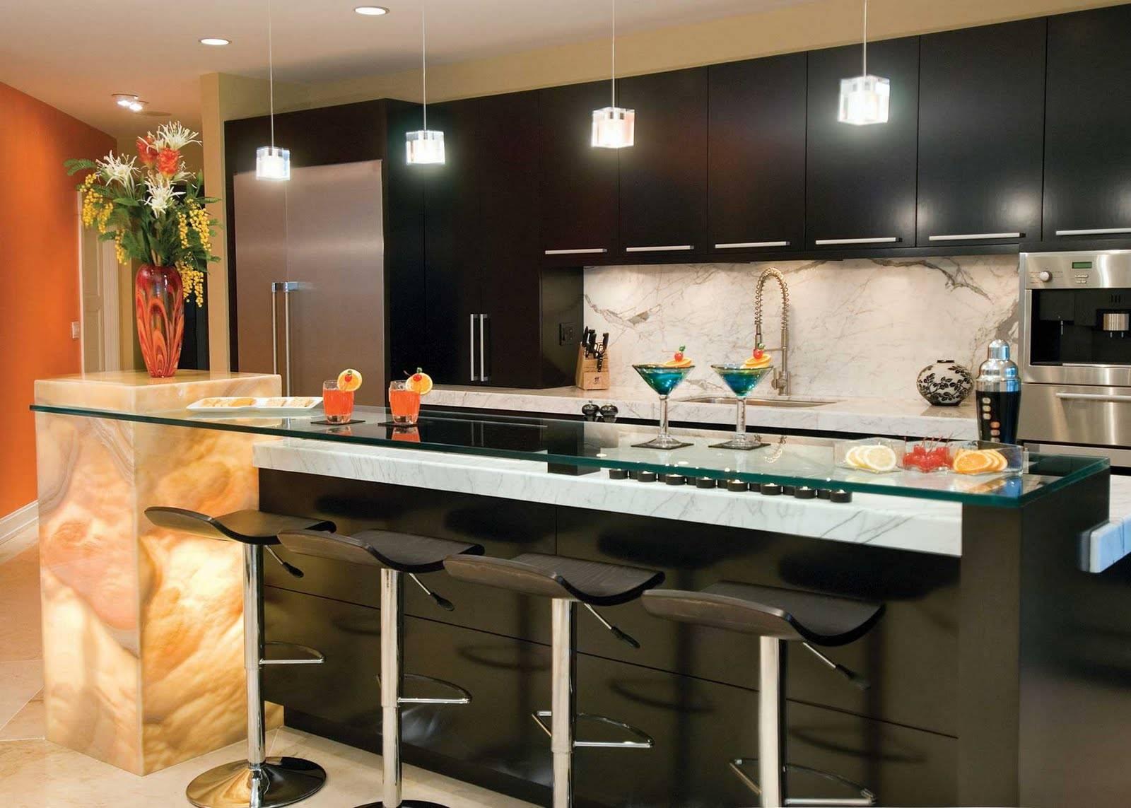 Барные стойки для кухни: фото, оформление, дизайн, выбор мебели