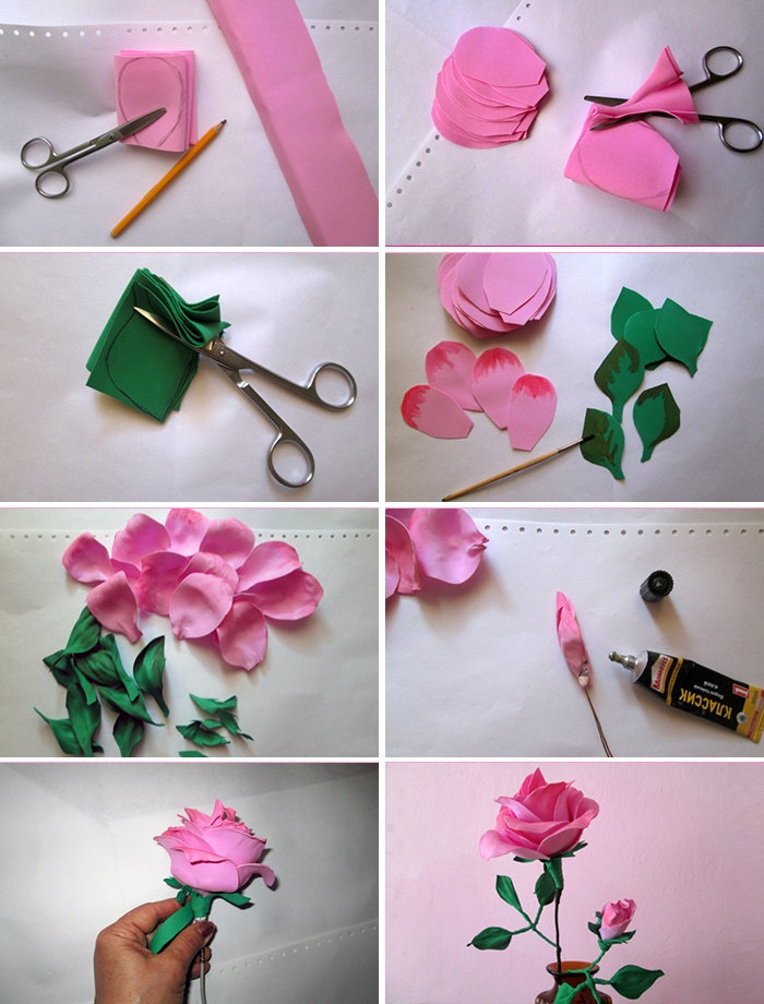 Роза из фоамирана: фото, материалы, этапы изготовления
