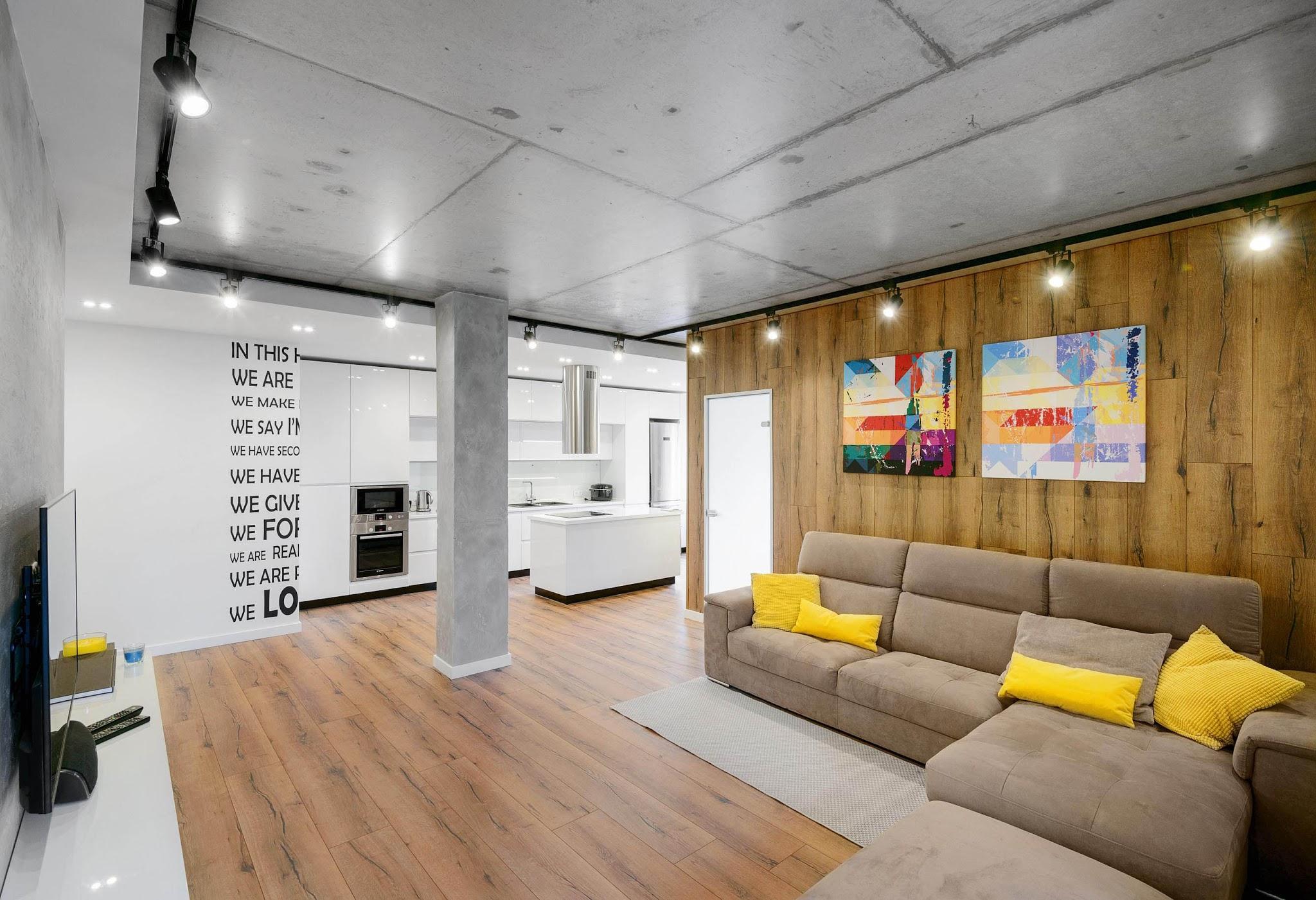 Бетонный потолок в интерьере: фото, стили, достоинства, советы