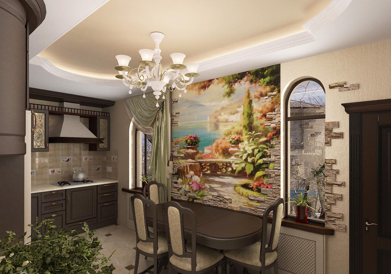 Фреска на кухне в интерьере: фото, разновидности, плюсы и минусы