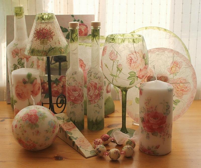 Декупаж стеклянных изделий – советы начинающим мастерам