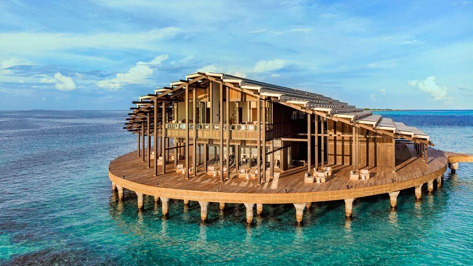 Морской курорт Kudadoo на солнечных батареях на Мальдивах